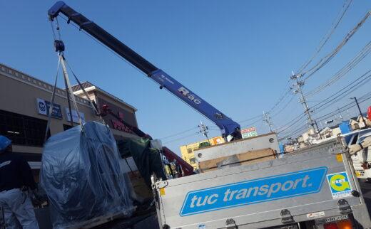 ショッピングモールへの大型送風機搬入事例(福島県から京都への輸送)
